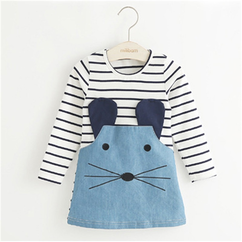 New 2016 Striped Patchwork Character Girl Dresses Long Sleeve Cute Mouse Children Clothing Kids Girls Dress Denim Kids Clothes(China (Mainland))