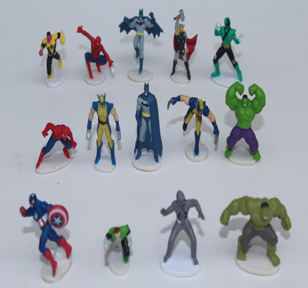2015 New kids toys cartoon 3cm superhero figures toys for children new year's gift free shipping E299(China (Mainland))