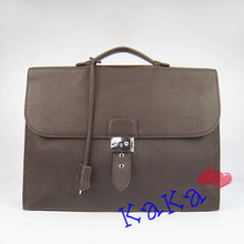 Genuine Leather Men Business Bag Silver Lock&Key Design Briefcase 5Colors Brand H Logo Top Quality Package (Tags,Dust Bag) #2813(China (Mainland))