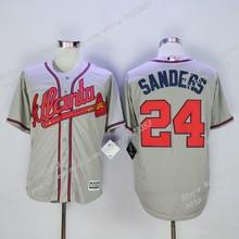 Cheap #24 Deion Sanders Jersey,Atlanta Braves Sanders Mens Baseball Jerseys,White Blue Gray Cream Red Embroidery S~4XL(China (Mainland))