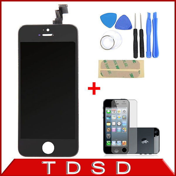 100% A+++Guarantee LCD Display for Iphone5C Touch Screen Digitizer Assembly+Tools +Screen Protector for iPhone 5C White / Black(China (Mainland))