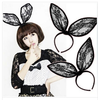 Fashion party women hairbands Black lace super big rabbit ear hair accessories Unique hair decorations Great hair wear SPIN283(China (Mainland))