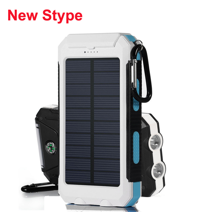 12000mah Solar Power Bank Dual USB Powerbank with dual LED light bateria externa Portable Charger power Pack for Mobile phone(China (Mainland))