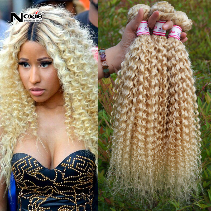 Naturally Curly Hair Extensions Blonde Human Hair Extensions