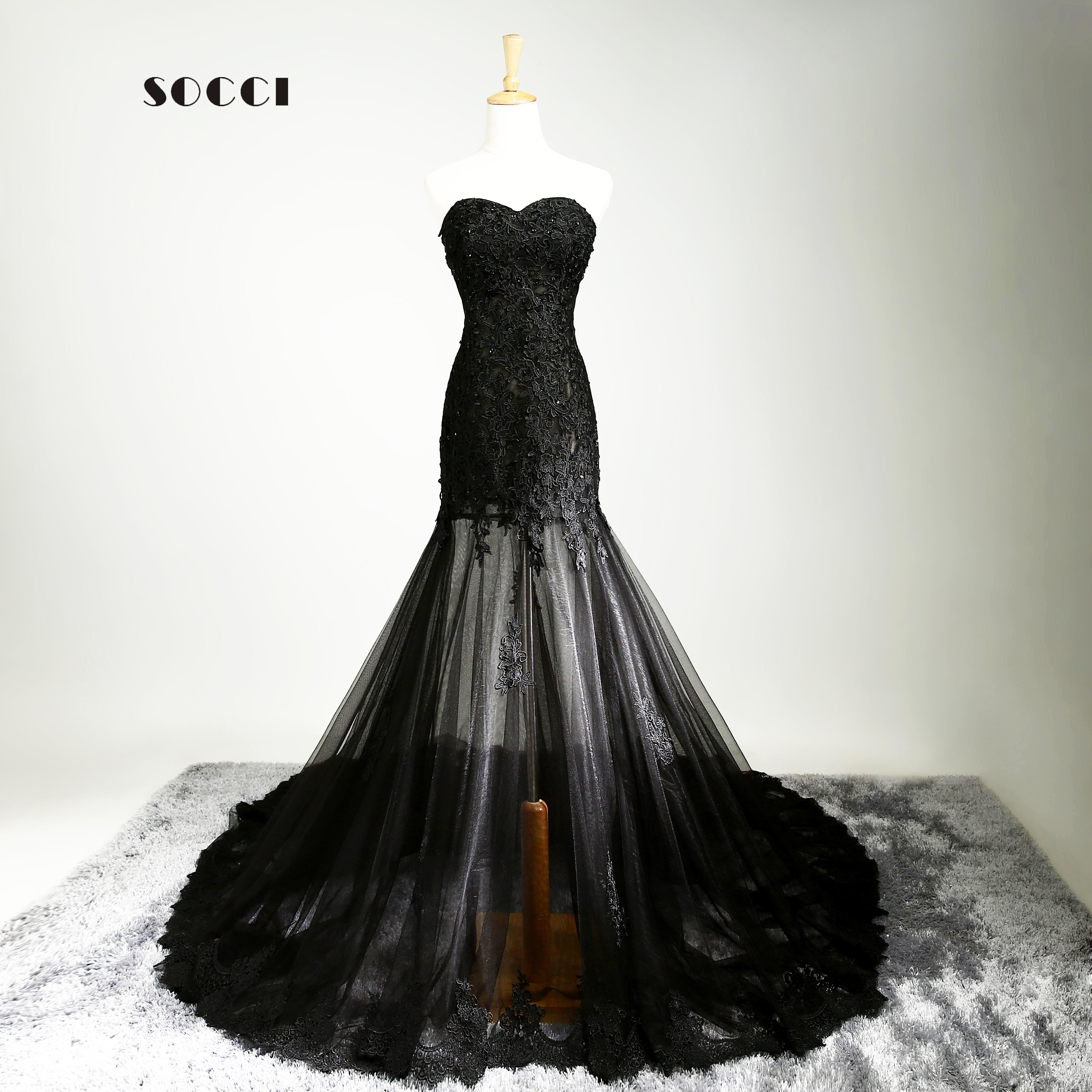 Sexy Black French Tulle Lace Long Evening Dress 2016 Elegant Embroidery Body Sweetheart Prom