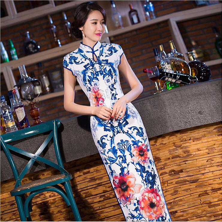 Elegant Women Long vestidos Cheongsam Long Qipao Vintage Chinese Traditional Dress Size:S M L XL XXLОдежда и ак�е��уары<br><br><br>Aliexpress