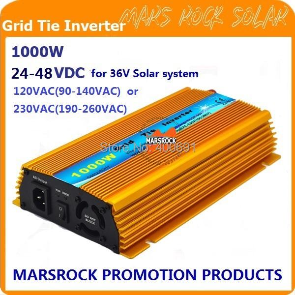 Promotion!! 1000W 36V Grid tie micro inverter, DC22V~45V, AC90V-140V or 190V-260V for 1200W 36V Solar panel and Wind Power !(China (Mainland))