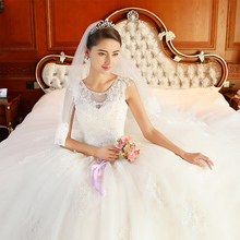 2016 royal vintage lace long trailing wedding dress summer female wedding gown(China (Mainland))