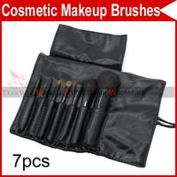 7 PCS Pro Eyelash Eyebrow Lip Eye Sponge shadow Eyeshadow Blusher Brushes Cosmetic Makeup Make up with Leather Case 2924