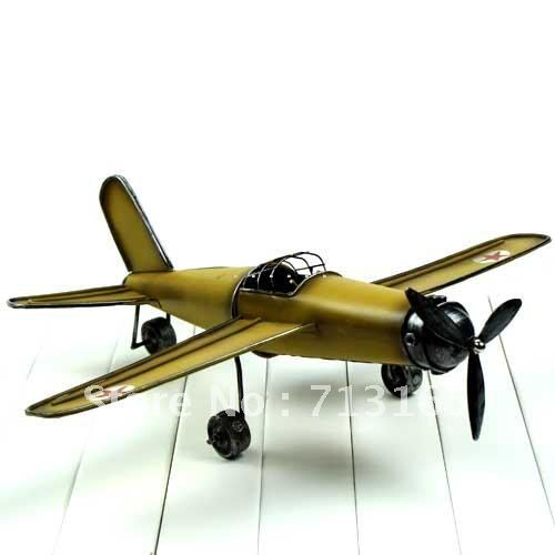 hotsale wrought iron single propeller model plane desktop furnishing articles,household adornment collection(China (Mainland))