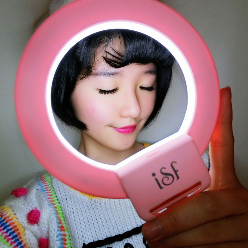 ISF Dimmable LED Flash Light for Live Stream Video Blog Selfie Ring Light Supplement Enhancing Universial Clip-on for phones(China (Mainland))