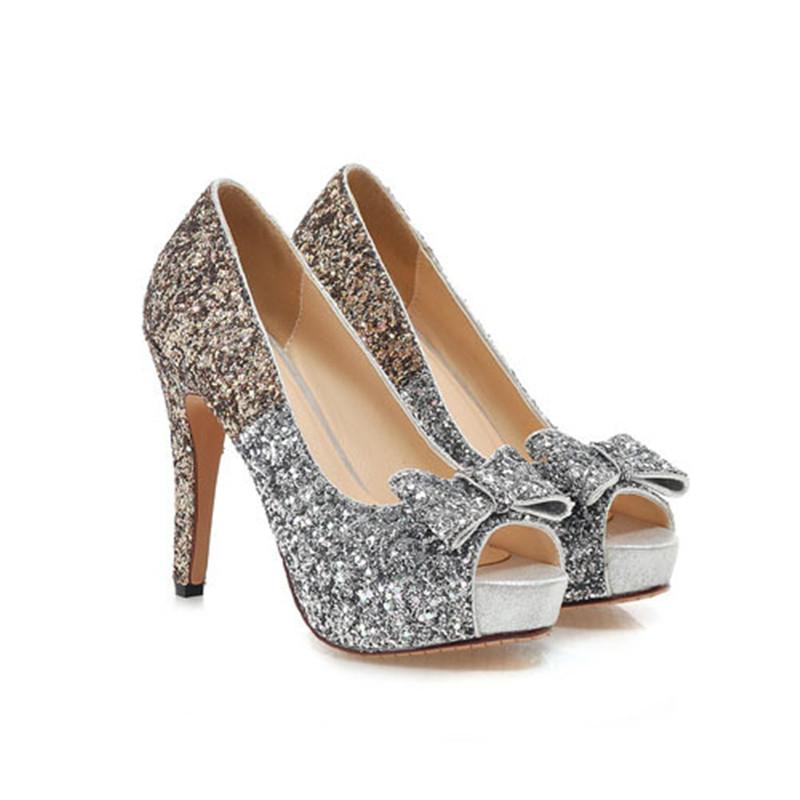 ENMAYER Peep Toe Round Toe Sexy Women Pumps Shoes 2015 Design High Heels Stiletto Color Mixed bow Shoes Wedding Platform Pumps<br><br>Aliexpress
