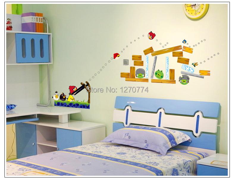 Children Nursery Bedrooms Wall Decals Art PVC Cartoon Birds Wall