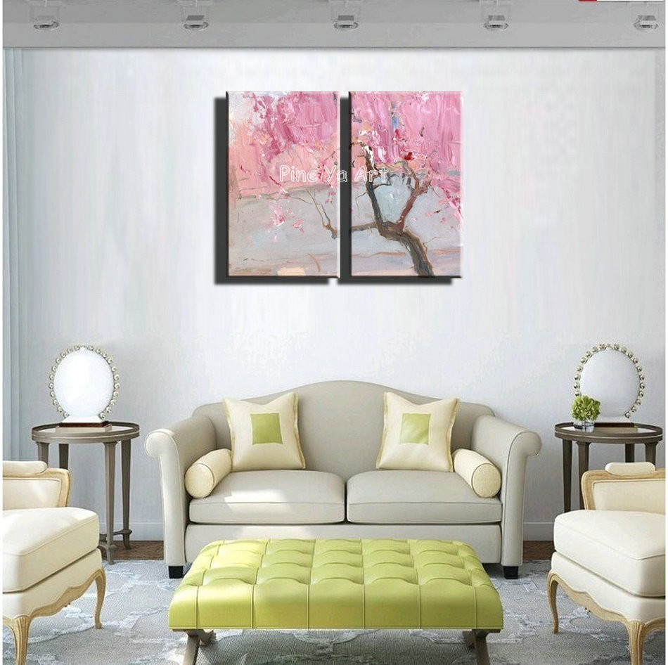 Buy 2 piece Knife paint pink cherry blossom abstract modern wall art handmade living room wall painting oil on canvas for bedroom cheap