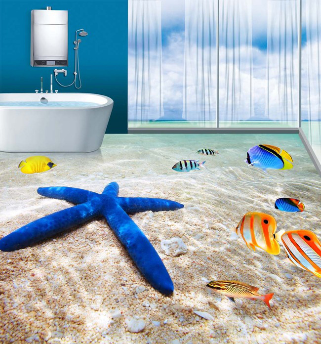 Individuell Bedruckte Tapete : 3D Bathroom Floor Tile