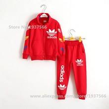 2015 Brand Boys Winter Autumn Sports suit 2 pieces set Tracksuits Kids Clothing sets 100-140cm Casual clothes Coat+Pant
