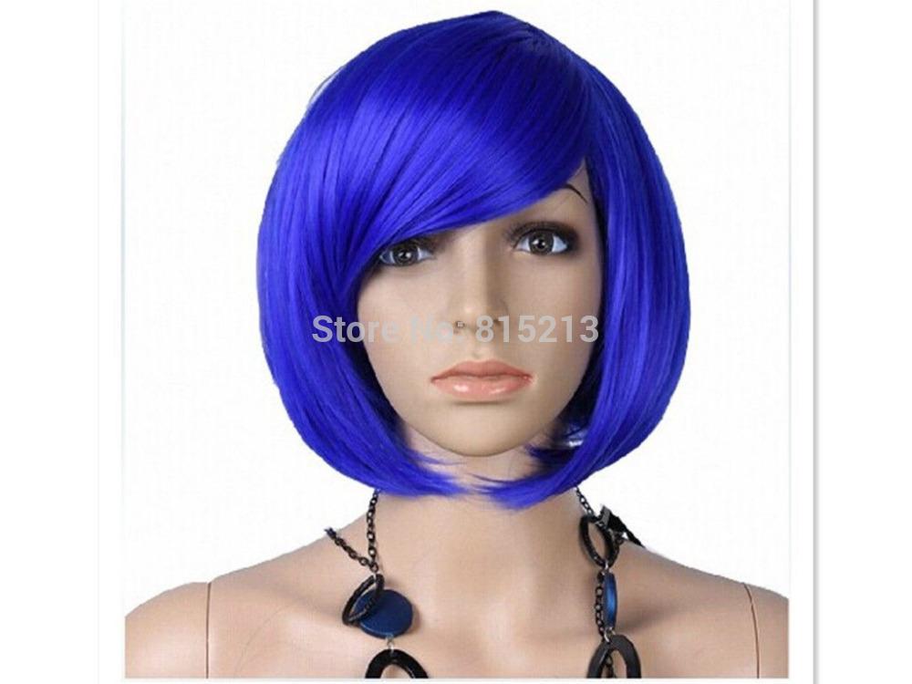 dd001168 Short Straight Lady Fashion Cosplay Costume Party Full Hair Wigs Blue Wig<br><br>Aliexpress