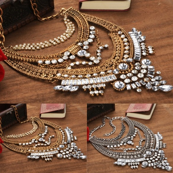 New Arrival Fashion Bohemian Ethnic Style Women's Metal Necklace Retro Chain Pendants Gold/Silver Jewelry 53(China (Mainland))