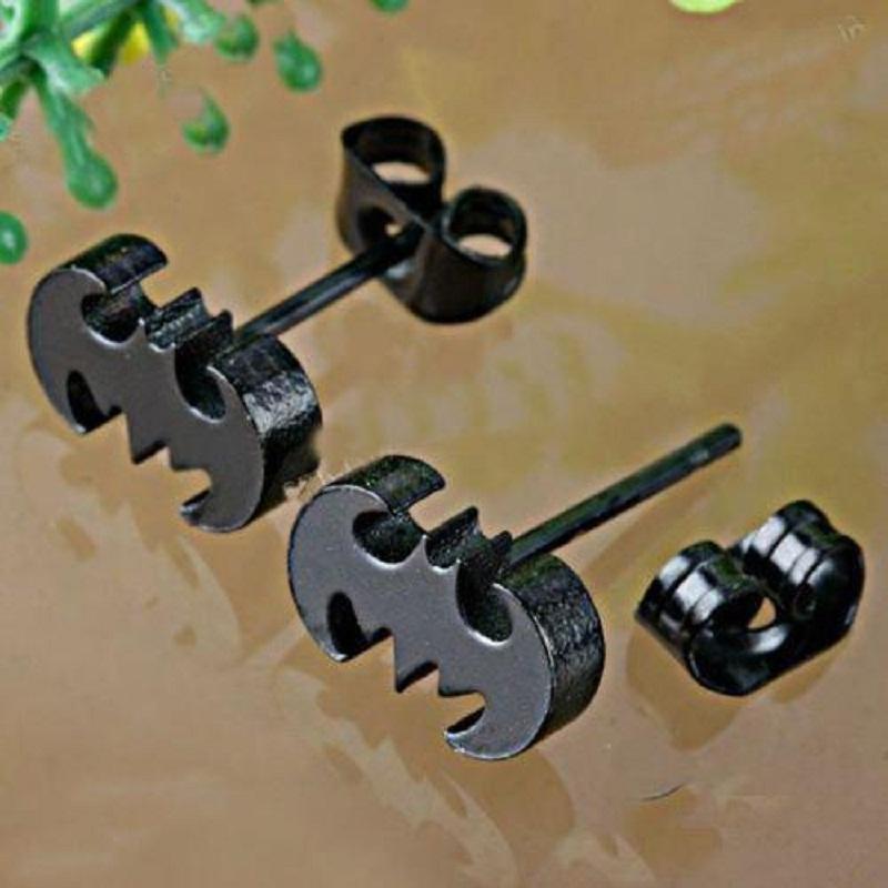 Free Shipping! Fashion Women Punk Stainless Steel Jewelry Trendy Black Bat Batman Earrings Unisex Earring Ear Stud Hot