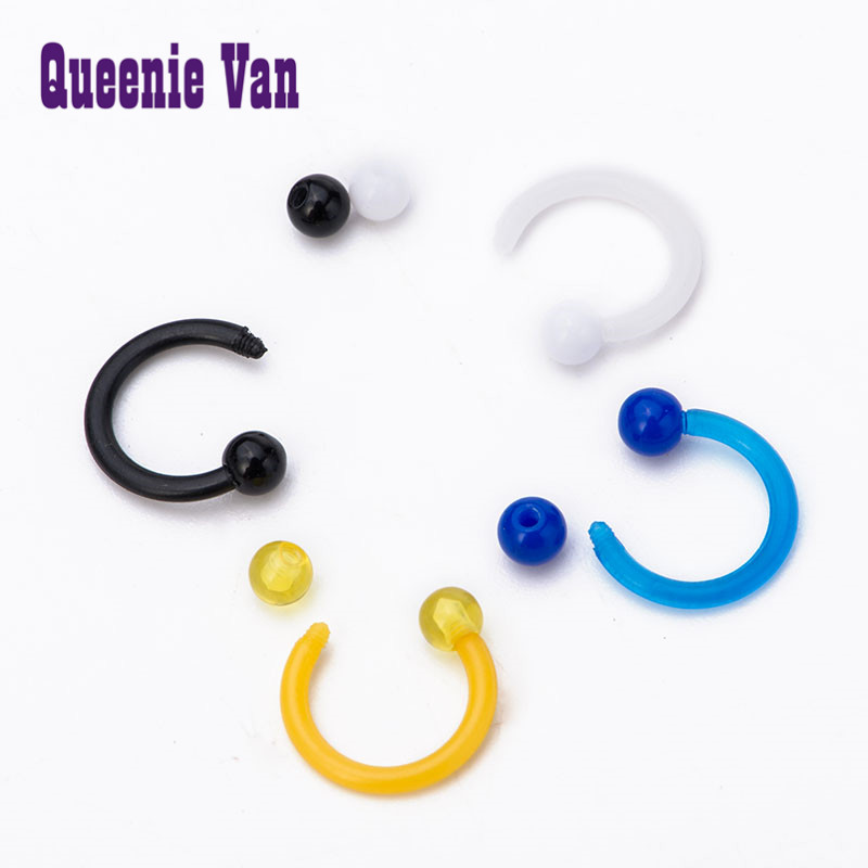 nose piercing ring stud 1.2*8*3/3 Mixed Color Horseshoe Circular Chic Body Jewelry Ball Acrylic Real Septum Nose Hoop Piercing(China (Mainland))