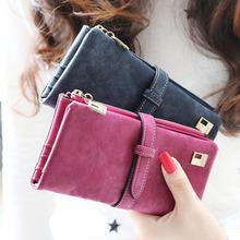 2015 donne portafogli nuove tendenze moda inverno di pompaggio posizione multi-card due fold wallet signora long borsa carta BQQ155(China (Mainland))