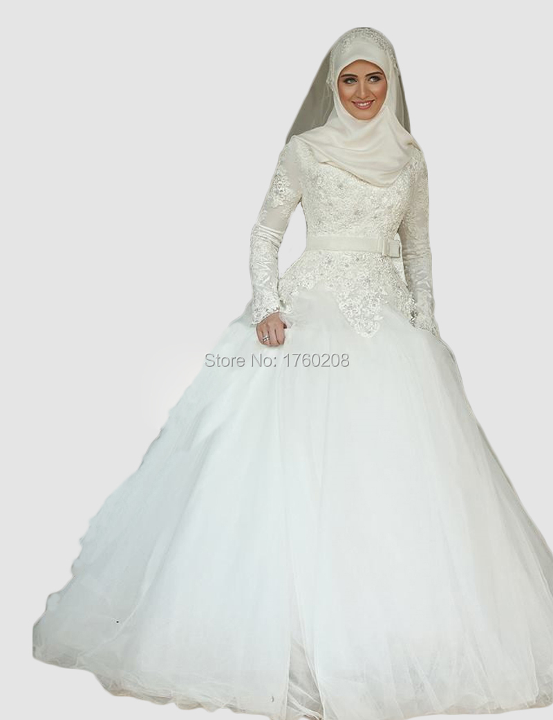 Beautiful princess long sleeve lace arabic islamic wedding for Muslim wedding dress photo