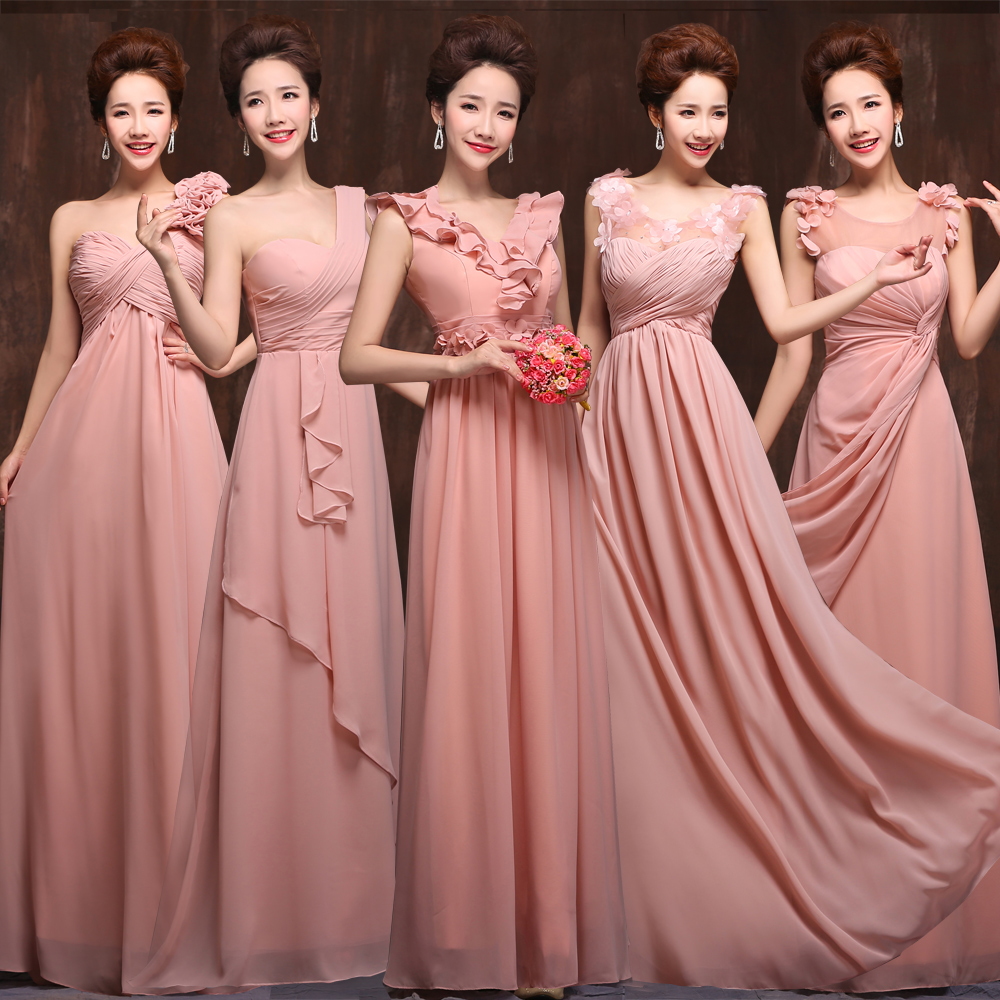 Double-shoulder Different styles Bridesmaid dress 2015 design long Fashion bride wedding evening - Victoria's Wedding &Formal Dresses Co.,Ltd store