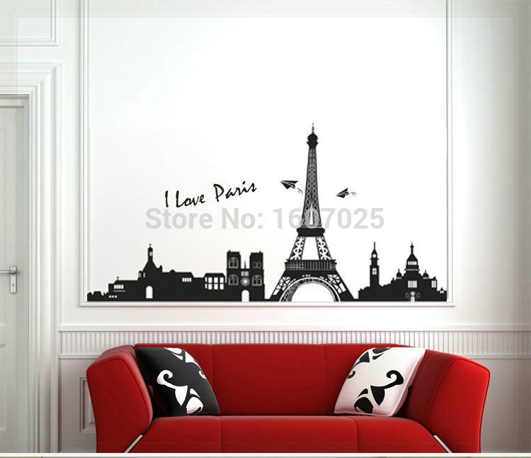 60*90cm 2015 newest creative DIY Paris Eiffel Tower high-quality removable wall stickers home decor ceiling wallpaper(China (Mainland))