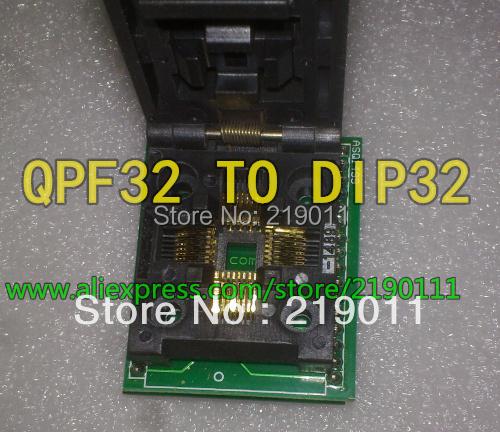Free shipping Universal IC Adapter Socket LQFP TQFP QFP 32 to DIP32 TQFP32 QFP32 to DIP32 Programmer for Xeltek 280U/580U/3000U(China (Mainland))