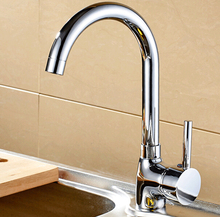 Buy Free Chrome Finish Single Handle Wall Mounted Kitchen Faucet Brass Kitchen Mixer Taps HJ-8301L for $31.35 in AliExpress store