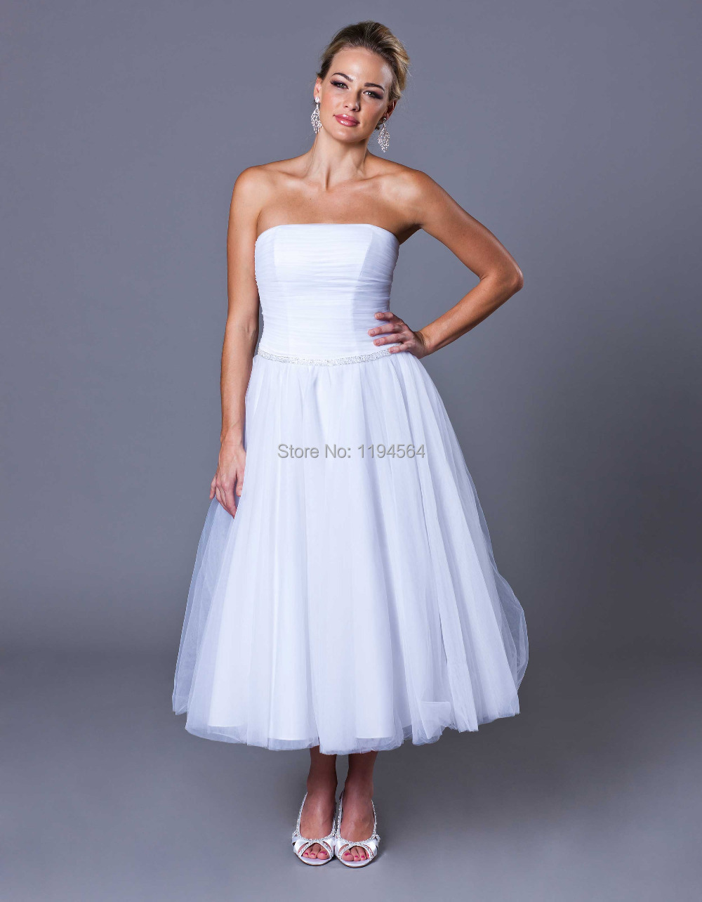 Tea Length Fall Dresses For Women A Line Wedding Dress Tea