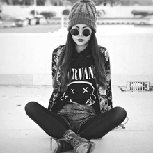Buy Fashion 2017 Harajuku Women T shirt Nirvana Print Letter T-Shirt Camisetas Mujer Short Sleeve Tshirt Black Punk Tumblr Tops tees for $6.38 in AliExpress store