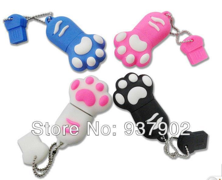5pcs/lot Free shipping ice cat feet paw Genuine Real capacity usb flash drives memory stick pen drive4gb 8gb 16GB S3(China (Mainland))