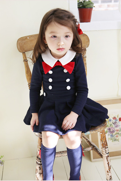 girl dress school uniform style clothes 2color gray&black available kids clothes/ children wear autumn - Best mum factory store
