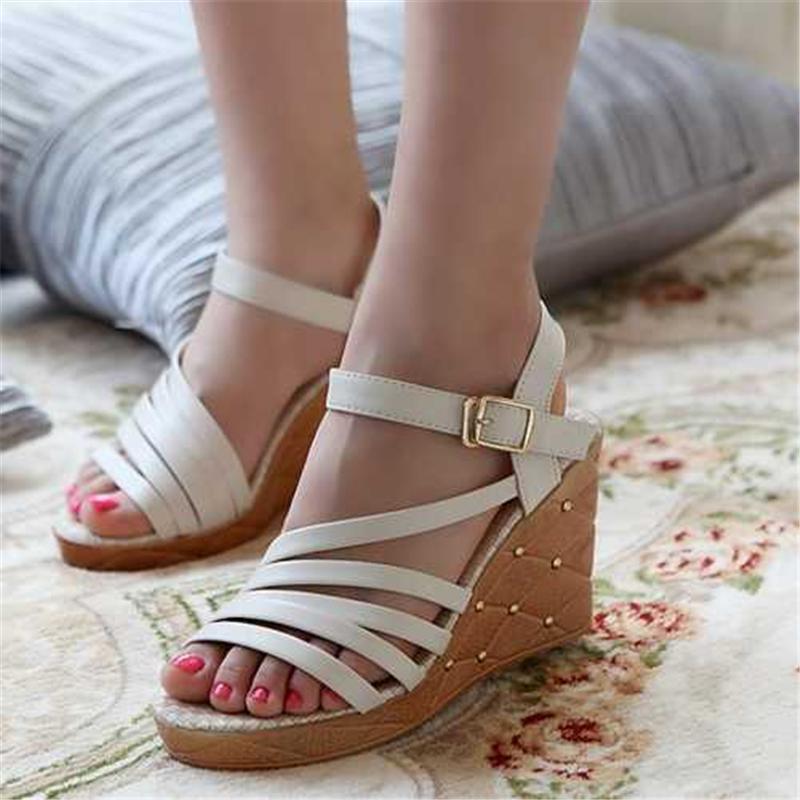 Gladiator Shoes New Summer Ankle Strap Buckle Fashion Sandals Platform Wedges High-heeled Sandals Women Shoes