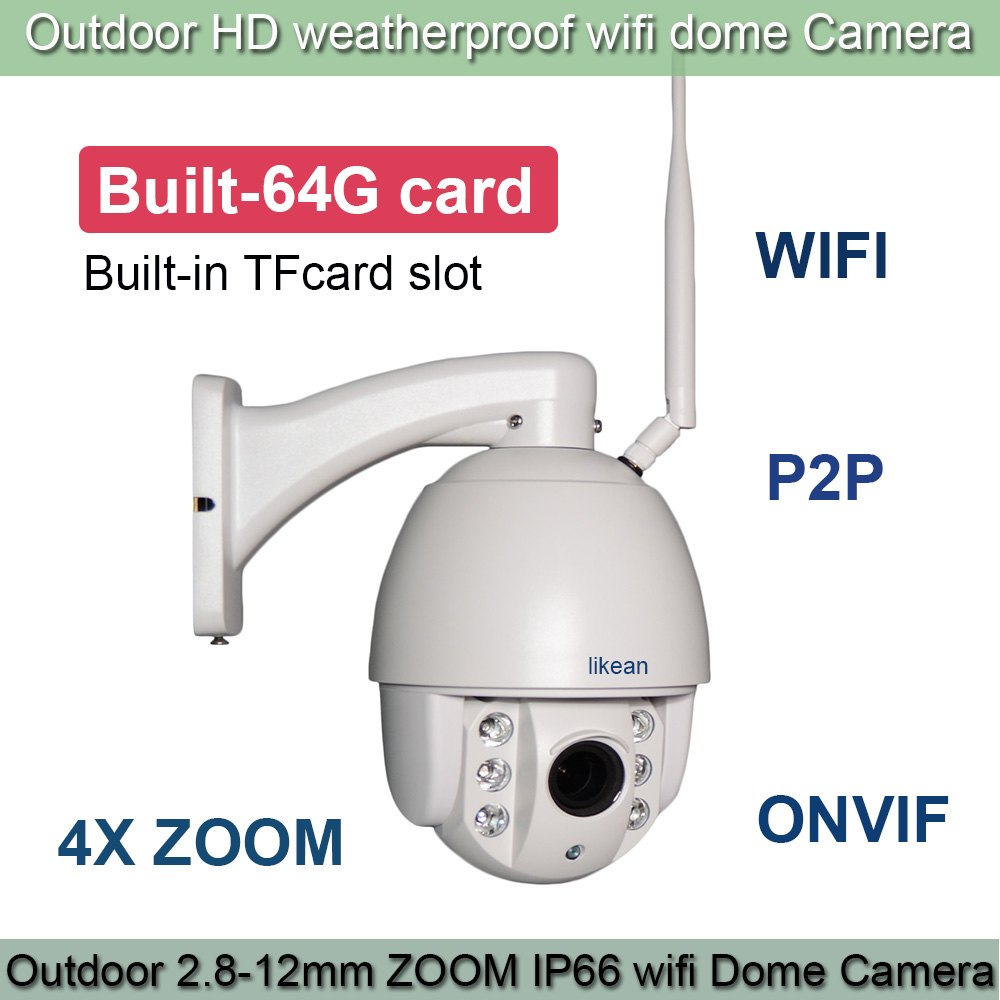 LIKEAN 2.0MP Wifi Wireless Camera IP 1080P Auto PTZ Dome Camera 2.8mm-12mm 4X Zoom Built-in 64G TFCard P2P onvif Outdoor CAMERA(China (Mainland))