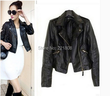 2016 Autumn Spring Ladies Clothing Short Fashion Leather Jacket Women Casual Coat Motorcycle jacket leather Clothing Women(China (Mainland))