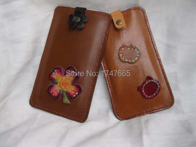100% pure handmade original leather carving flowers drawing sewn pouch korean style mobile phone bag phon sets PS001(China (Mainland))