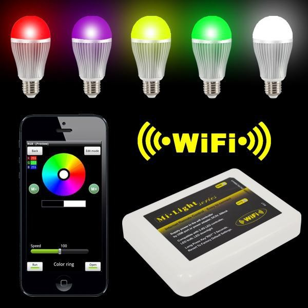 Wireless Milight E27 6W LED RGBW Bulb Lamp with 4-Zone Remote and WiFi Controller For iOS/iPhone/iPad Android/Samsung/LG/SONY(China (Mainland))