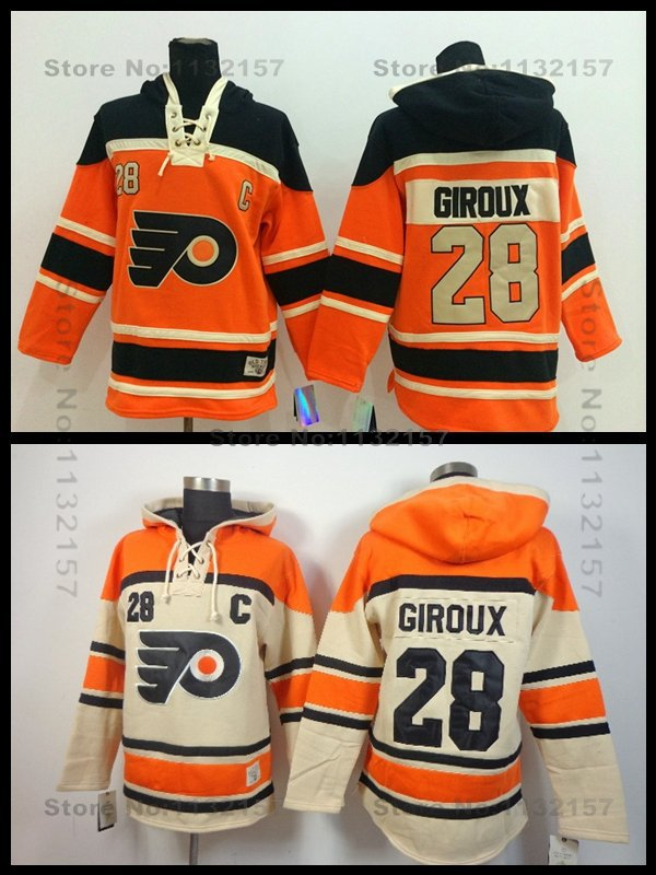 Philadelphia Flyers Hoodies Old Time Hockey Hoodie #28 Claude Giroux Orange Heavyweight C Patch