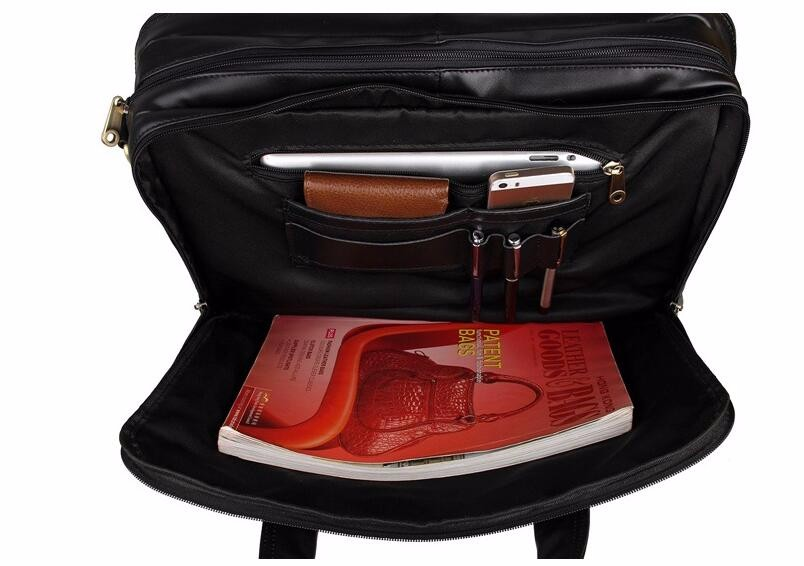 LEXEB Full Grain Leather Briefcases Bag Men's Casual Totes 15″ Laptop High Quality Office Bags For Men Large Capacity Brown