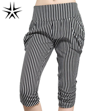 2016 New Large Size L-5XL Lady Classic Short Striped Harem Pants Super Fashion Women Thin Desire Capris(China (Mainland))