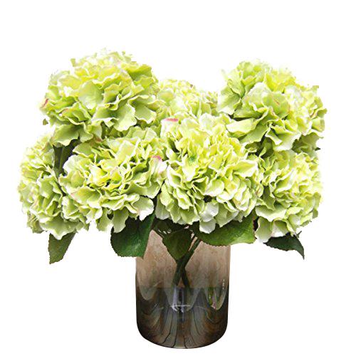 """IMC Hot Artificial Hydrangea Flower 5 Big Heads Bouquet (Diameter 7"""" each head) Green(China (Mainland))"""