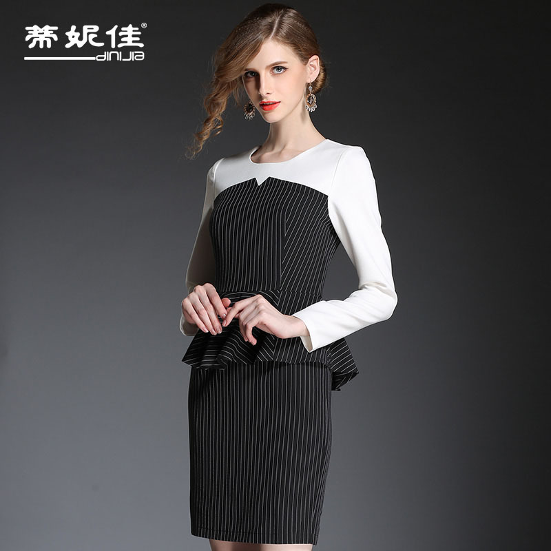 Europe-fall 2015 new career OL ruffled long sleeve ladies  striped mosaic bag hip dress wholesale 2 piece set Womens suitОдежда и ак�е��уары<br><br><br>Aliexpress
