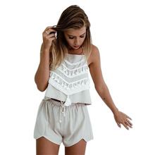 Buy Summer Style 2 Piece Set Women White lace Halter Sleeveless Crop Top Shorts Set Sexy Beach Lacing Clothing for $10.36 in AliExpress store