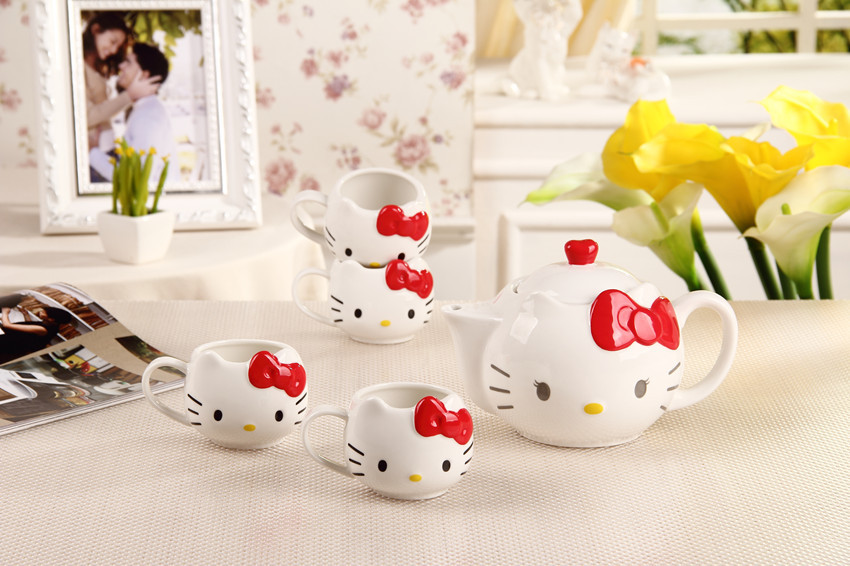 Free shipping Hot Funny cat tea sets (one pot+four cups) teapot cat mugs coffee&tea sets ,Hello kitty sets mugs For gift(China (Mainland))