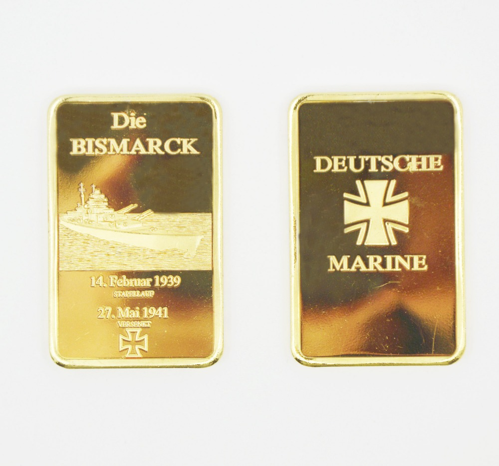 Factory Price Germany Military Metal Bars/Coins Gold Plated Deutsche Marine Commemorative Gold Bar Custom For Home Decoration(China (Mainland))