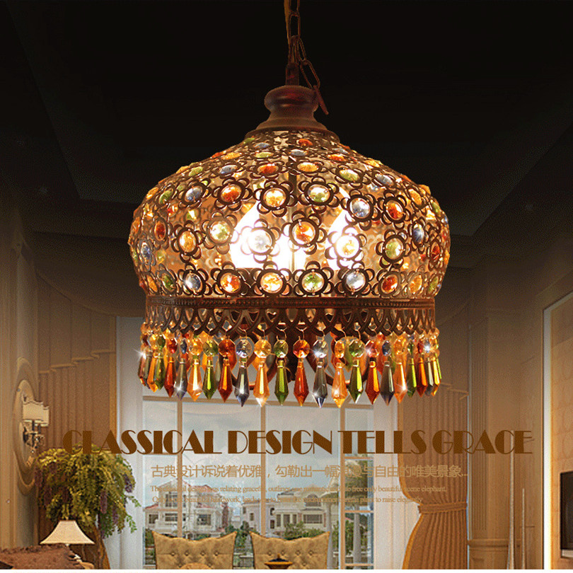 2015 New Mediterranean Style Painted Iron Hand Knitted Crystal Pendant Light Creative Bohemia Vintage Iron Pendant Light