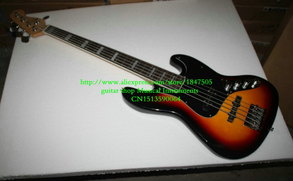 Free Shipping top quality factory custom New sunburst 5 strings bass guitar basswood body guitar bass Guitar(China (Mainland))
