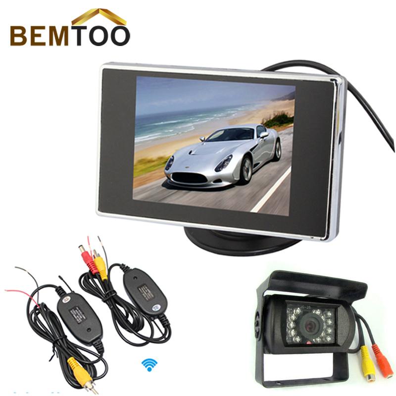 """Car Rear View Kit Night Vision Reversing Camera+ 3.5 """"TFT LCD monitor +Wireless Adapter(China (Mainland))"""